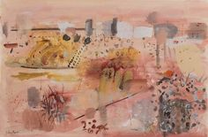From Doyle, John Piper, Near Aix-en-Provence, Watercolor and gouache on paper, 14 × 21 in Watercolor Landscape, Abstract Watercolor, Abstract Art, Watercolour, John Piper Artist, English Artists, Aix En Provence, Modern Landscaping, Watercolor Techniques