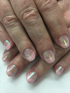 Sparkly French Manicure, Gel Nail Designs, Gel Nails, Indigo, Emerald, Unicorn, Pink, Beauty, Gel Nail