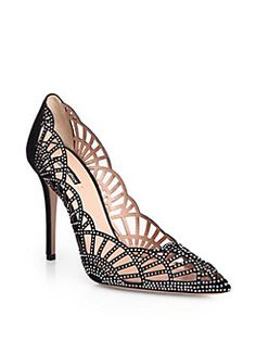 Giorgio Armani - Crystal-Covered Suede Point-Toe Pumps