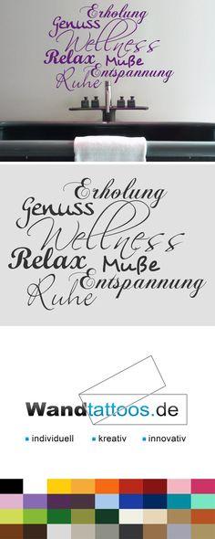 Badezimmer Wandtattoo Wörter Wandtattoo Wellness pur! als Idee zur individuellen Wandgestaltung. Einfach Lieblingsfarbe und Größe auswählen. Weitere kreative Anregungen von Wandtattoos.de hier entdecken!