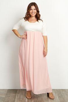 Maternity maxi dress pink color block