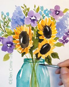 Watercolor sunflowers and lilacs in mason jar watercolor Watercolor sunflowers and lilacs in mason jar watercolor Ellen Crimi-Trent ellencrimitrent Bohemian Decor A bright and fun bouquet sunflower masonjars nbsp hellip Painting videos Watercolor Painting Techniques, Painting & Drawing, Painting Videos, Sky Painting, Daisy Painting, Watercolor Video, Watercolor Water, Water Color Painting Easy, Easy Watercolor Paintings