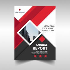 Red geometric corporate annual report template Free Vector Banner Design Inspiration, Brochure Design Inspiration, Book Design Layout, Brochure Cover, Brochure Layout, Event Poster Design, Flyer Design, Report Template, Flyer Template