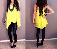 Yellow top black skinnies