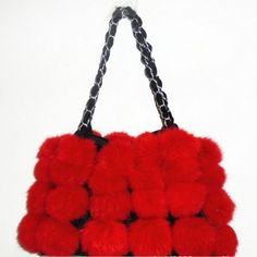 100% Guaranteed High Quality Red Natural Genuine Rabbit Fur Purse  | sariasknitncrochet - Bags & Purses on ArtFire