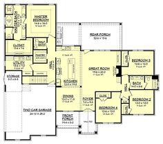 COOL house plans offers a unique variety of professionally designed home plans with floor plans by accredited home designers. Styles include country house plans, colonial, Victorian, European, and ranch. Blueprints for small to luxury home styles. Craftsman Farmhouse, Craftsman Style House Plans, Ranch House Plans, Country House Plans, New House Plans, Dream House Plans, Farmhouse Plans, House Floor Plans, Modern Farmhouse