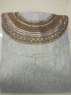 Zardozi Embroidery, Hand Embroidery Dress, Embroidery Neck Designs, Beaded Embroidery, Kurti Neck Designs, Blouse Designs, Rakhi Design, Stylish Blouse Design, Royal Dresses