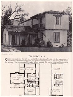 Encino House Plan - Eclectic Monterey Spanish Revival Style - American Residential Architecture - 1929 Home Builders Catalog. Wow, I love this vintage presentation promotion for this classic California house. Spanish Revival Home, Spanish Colonial Homes, Colonial House Plans, Spanish Style Homes, Spanish House, House Floor Plans, Perspective Architecture, Architecture Résidentielle, Japanese Architecture