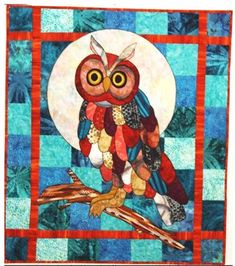 """This whimsical quilt is sure to delight the owl lover in your family. Fusible applique technique. Full size pattern templates enclosed. Finished size: 29"""" x 33"""""""