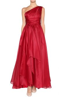 Marchesa one shoulder silk ball gown front