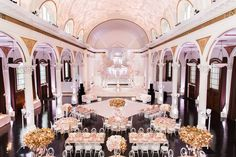 Our Main Hall transformed into a gorgeous blush and gold reception... (Venue: @redbird | @vibianaevents / Design Production Custom Decor @agoodaffair @agoodaffairnatalie / Photography: @greatromancephoto / Floral Design: @bloomboxdesigns / Linen: @luxe_linen / Balloons: @ballooncelebrations / Cinema: @lighthouse_studios / DJ: @hiloproductions4)