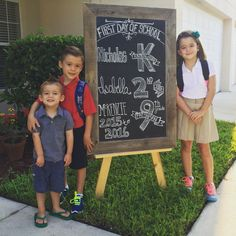 Back to school Chalk Board! Multiple children back to school chalk board. First day of school! Kindergarten, 2nd Grade and a high schooler!