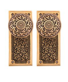 Rice pattern keyed round bronze doorknobs and back plates