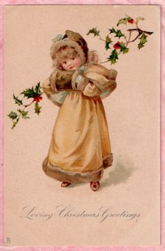 Beautiful Little Girl Fur Muff Tuck Christmas Gem Ellen Jessie Andrews 1904 Gem | eBay