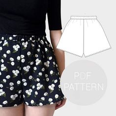 Womens high waisted shorts pdf printable sewing pattern.