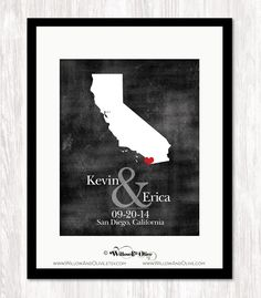 PERSONALIZED WEDDING MAP #1: BRIDE & GROOM, DATE & LOCATION - ANY STATE MAP Art Print