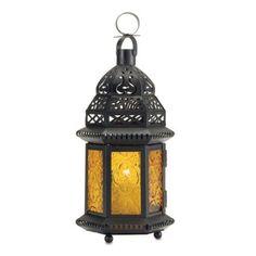 Amazon.com: Gifts & Decor Yellow Glass Moroccan Lantern Candle Holder Light Decor: Home & Kitchen