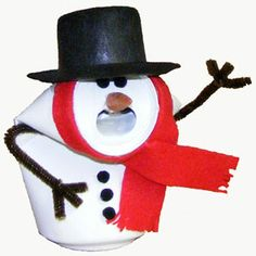 Add this cute Snowman to your recycled aluminum can holiday decor. All you need is a little paint, a top hat, and a few basic supplies.