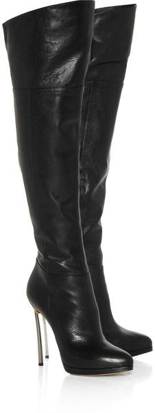 Casadei Leather Thigh Boots in Black - Lyst