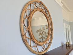 Beautiful Large Round Decorative Bamboo Cane Vintage Mirror Boho Hollywood Regency by verylastcentury on Etsy