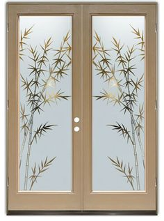 Glass Doors - Frosted Glass Front Entry Doors - BAMBOO FOREST neg eclectic front doors