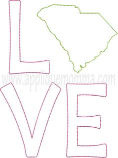 South Carolina Love 2 Raggy Applique Design