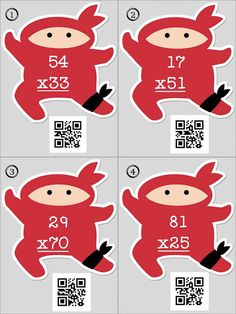 Number Ninjas... double digit multiplication with QR codes for self checking...  try these out!   #QR codes #multiplication #ninjas