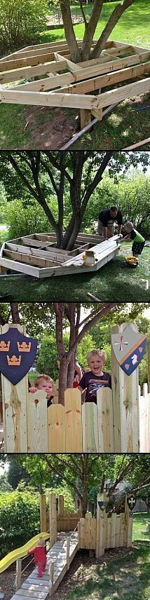 Build a tree house / castle for the little ones. | protractedgarden #buildachildrensplayhouse