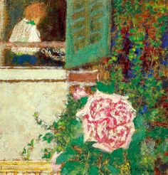 'Jeune femme à la fenêtre et fleur' 1897-1899 Edouard Vuillard
