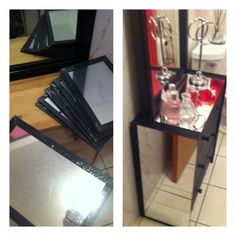 Ikea Rast hack using 11 dollar tree mirrors. It's so glam!! The unfinished chest is 34.99 @ Ikea.