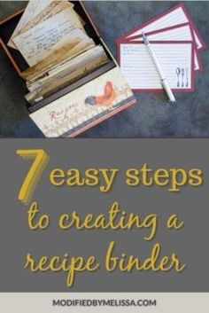 Recipe Binder - 7 Easy Steps to Creating One | Modified By Melissa Recipe Organization, Kitchen Organization, Organizing, Avery Address Labels, Recipe Paper, Recipe Sheets, Page Protectors, Recipe Filing
