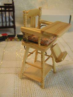 HEIDI OTT ~ HIGH CHAIR ~ Dollhouse Miniature 1:12 scale baby Doll ~ Pine