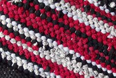 Black Gray Red Loom Woven Rag Rug   Country by GrannysRecycledRags