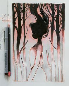 Beautiful Feminine Illustrations By Lois Van Baarle – Drawing Dark Art Drawings, Beautiful Drawings, Art Drawings Sketches, Cool Drawings, Creepy Sketches, Beautiful Dark Art, Fantasy Drawings, Art And Illustration, Illustration Design Graphique