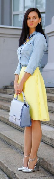 Denim On Yellow Outfit
