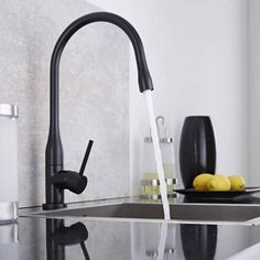 The matt black finish featured on this Milano sink mixer tap will make statement in your modern kitchen Black Sink, Black Taps, Kitchen Mixer Taps, Sink Mixer Taps, Kitchen Faucets, Quartz Sink, Hudson Reed, Designer Radiator, Ideas Hogar