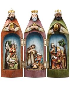 The story of Christmas is uniquely and beautifully captured in this Napco nativity scene featuring the holy family set inside the three wise men. These pieces are hinged so they can close into each ot