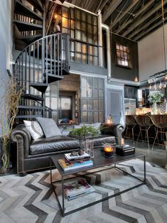Beautiful industrial style living room décor with leather sofa, modern industrial style loft, indus Industrial Style Kitchen, Industrial Design Furniture, Industrial House, Vintage Industrial, Industrial Living Rooms, Industrial Dining, Urban Industrial, Industrial Bedroom, Industrial Lighting