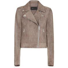 BCBGMAXAZRIA Santana Suede Jacket (6 215 ZAR) ❤ liked on Polyvore featuring outerwear, jackets, retro jackets, suede jackets, brown fringe jacket, brown suede jacket and zipper jacket