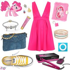 Pinkie Pie Inspired Outfit - My Little Pony - on 2DayBit  Credits: Hasbro – My Little Pony – Pinkie Pie image found here Oh My Love – Deep V Skater Dress Converse – All Star Chuck Taylor Fresh Colors – Yellow Claire's – My Little Pony Plush Mini Diary GHD – V Pink Diamond Styler Collistar – Supergloss n.5 Pastel Pink @ Douglas BijouBrigitte – Bracelets – 3 times sugar BijouBrigitte – Earring Set – Sweets Miu Miu - Mini Bag Apple – Ipod Shuffle Pandora – Bracelet with charms