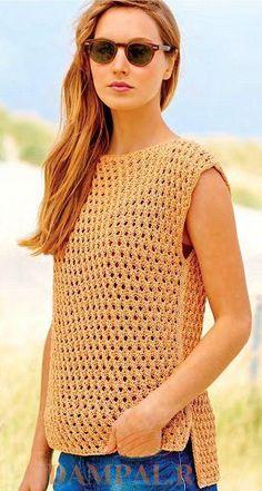Топ «Freida»    Простой летний топ выполнен сеточным рисунком вязания.