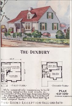 Mid Century Cottage Style Minimal Traditional - Nationwide House Plan Service - 1950s Home Design - The Duxbury