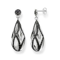 Seemingly endless lines of pavé stones made from black zirconia unite to create numerous #infinity symbols, which bring a magically-timeless and elegant sparkle to the drop-shaped THE ETERNITY OF LOVE ear studs crafted from 925 Sterling silver by #THOMASSABO.