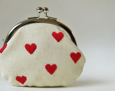 Red hearts on linen coin purse. $44.00, via Etsy.