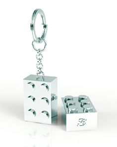 Building block Key-ring in Sterling Silver, more at www.lushchic.co.uk #keyring #silver #gifts #men #lego