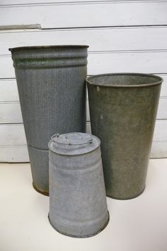 3 Sap buckets Vintage galvanized metal. via Etsy.