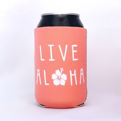 Live Aloha Hibiscus Hawaiian Neoprene Drink Cooler Coral (26 NOK) ❤ liked on Polyvore featuring home, kitchen & dining, cozies, drink & barware, drinkware, home & living and silver