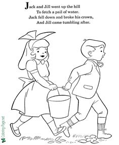 Mother Goose Nursery Rhymes coloring pages -Jack and Jill Coloring Page Rhyming Preschool, Nursery Rhymes Preschool, Rhyming Activities, Nursery Activities, Preschool Classroom, Phonics, Classroom Ideas, Nursery Rhymes Lyrics, Nursery Rhyme Theme