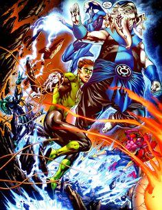 Blue Lantern Saint Walker, Warth and Green Lantern Hal Jordan by Ivan Reis