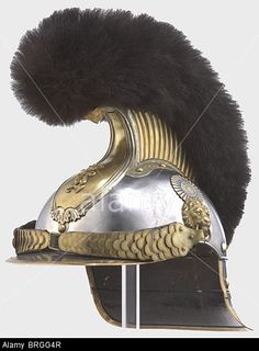 A model 1845/64 helmet for officers, of the 1st and 2nd Bavarian Cuirassier Regiment Polished steel skull, nickel-silver comb w Stock Photo